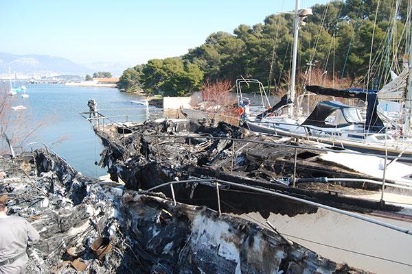 Enquête avec Drone suite à l'incendie d'un bateau