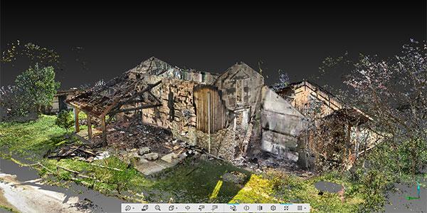 Recherche de causes et circonstance d'incendie d'un gîte avec scan 3d